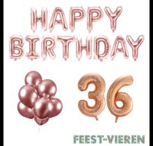 36 jaar Verjaardag Versiering Ballon Pakket rosé goud