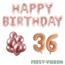 Feest-vieren 36 jaar Verjaardag Versiering Ballon Pakket rosé goud