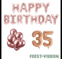 35 jaar Verjaardag Versiering Ballon Pakket rosé goud
