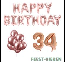 34 jaar Verjaardag Versiering Ballon Pakket rosé goud