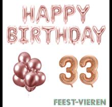 33 jaar Verjaardag Versiering Ballon Pakket rosé goud