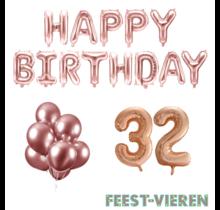 32 jaar Verjaardag Versiering Ballon Pakket rosé goud