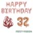 Feest-vieren 32 jaar Verjaardag Versiering Ballon Pakket rosé goud