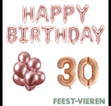 30 jaar Verjaardag Versiering Ballon Pakket rosé goud