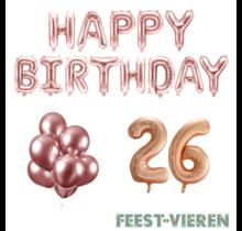 26 jaar Verjaardag Versiering Ballon Pakket rosé goud