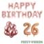 Feest-vieren 26 jaar Verjaardag Versiering Ballon Pakket rosé goud