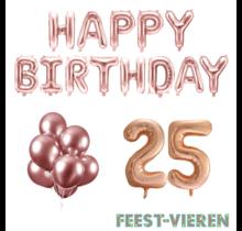 25 jaar Verjaardag Versiering Ballon Pakket rosé goud
