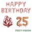 Feest-vieren 25 jaar Verjaardag Versiering Ballon Pakket rosé goud