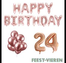 24 jaar Verjaardag Versiering Ballon Pakket rosé goud