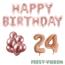 Feest-vieren 24 jaar Verjaardag Versiering Ballon Pakket rosé goud