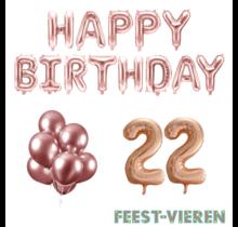 22 jaar Verjaardag Versiering Ballon Pakket rosé goud