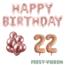 Feest-vieren 22 jaar Verjaardag Versiering Ballon Pakket rosé goud