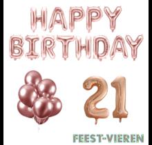 21 jaar Verjaardag Versiering Ballon Pakket rosé goud