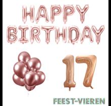17 jaar Verjaardag Versiering Ballon Pakket rosé goud