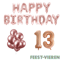 13 jaar Verjaardag Versiering Ballon Pakket rosé goud
