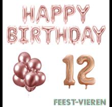 12 jaar Verjaardag Versiering Ballon Pakket rosé goud