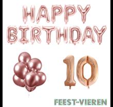 10 jaar Verjaardag Versiering Ballon Pakket rosé goud