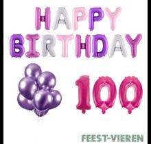 100 jaar Verjaardag Versiering Ballon Pakket Pastel & Roze
