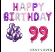 99 jaar Verjaardag Versiering Ballon Pakket Pastel & Roze