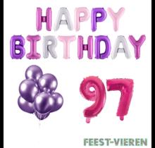 97 jaar Verjaardag Versiering Ballon Pakket Pastel & Roze