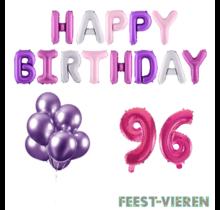 96 jaar Verjaardag Versiering Ballon Pakket Pastel & Roze
