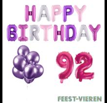 92 jaar Verjaardag Versiering Ballon Pakket Pastel & Roze