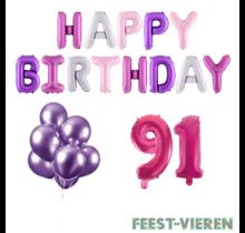 91 jaar Verjaardag Versiering Ballon Pakket Pastel & Roze