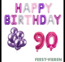 90 jaar Verjaardag Versiering Ballon Pakket Pastel & Roze
