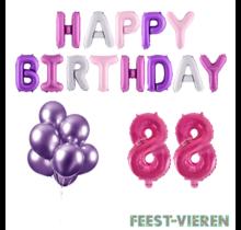 88 jaar Verjaardag Versiering Ballon Pakket Pastel & Roze