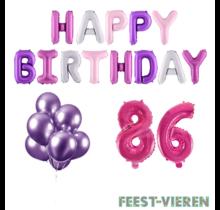 86 jaar Verjaardag Versiering Ballon Pakket Pastel & Roze