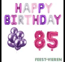 85 jaar Verjaardag Versiering Ballon Pakket Pastel & Roze