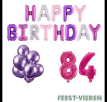 84 jaar Verjaardag Versiering Ballon Pakket Pastel & Roze