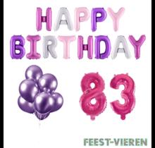 83 jaar Verjaardag Versiering Ballon Pakket Pastel & Roze
