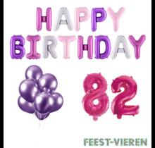 82 jaar Verjaardag Versiering Ballon Pakket Pastel & Roze