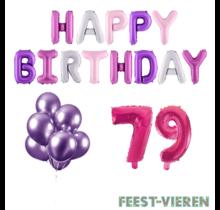79 jaar Verjaardag Versiering Ballon Pakket Pastel & Roze