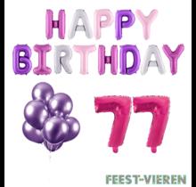 77 jaar Verjaardag Versiering Ballon Pakket Pastel & Roze