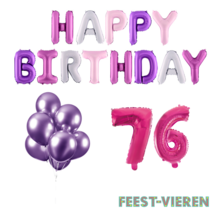 76 jaar Verjaardag Versiering Ballon Pakket Pastel & Roze
