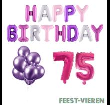 75 jaar Verjaardag Versiering Ballon Pakket Pastel & Roze