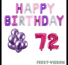 72 jaar Verjaardag Versiering Ballon Pakket Pastel & Roze
