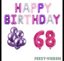 68 jaar Verjaardag Versiering Ballon Pakket Pastel & Roze