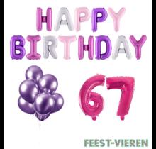 67 jaar Verjaardag Versiering Ballon Pakket Pastel & Roze