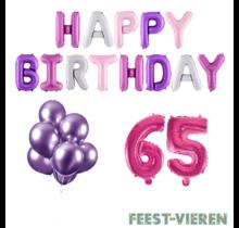 65 jaar Verjaardag Versiering Ballon Pakket Pastel & Roze