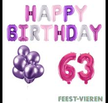 63 jaar Verjaardag Versiering Ballon Pakket Pastel & Roze