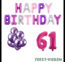 61 jaar Verjaardag Versiering Ballon Pakket Pastel & Roze