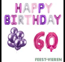 60 jaar Verjaardag Versiering Ballon Pakket Pastel & Roze