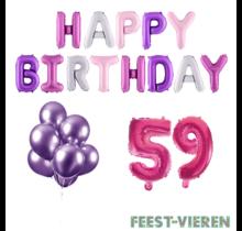 59 jaar Verjaardag Versiering Ballon Pakket Pastel & Roze