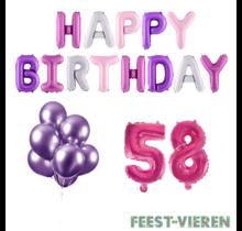 58 jaar Verjaardag Versiering Ballon Pakket Pastel & Roze