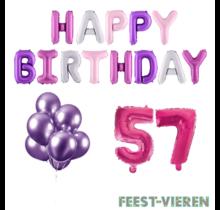57 jaar Verjaardag Versiering Ballon Pakket Pastel & Roze