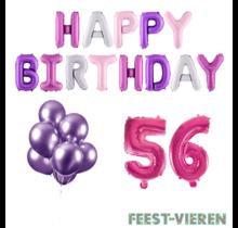 56 jaar Verjaardag Versiering Ballon Pakket Pastel & Roze