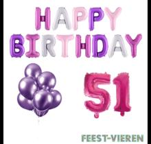 51 jaar Verjaardag Versiering Ballon Pakket Pastel & Roze